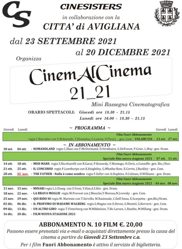 Manifesto rassegna cinema al cinema avigliana 21_21